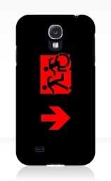 Accessible Means of Egress Icon Exit Sign Wheelchair Wheelie Running Man Symbol by Lee Wilson PWD Disability Emergency Evacuation Samsung Galaxy Case 116