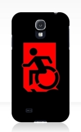 Accessible Means of Egress Icon Exit Sign Wheelchair Wheelie Running Man Symbol by Lee Wilson PWD Disability Emergency Evacuation Samsung Galaxy Case 117