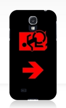 Accessible Means of Egress Icon Exit Sign Wheelchair Wheelie Running Man Symbol by Lee Wilson PWD Disability Emergency Evacuation Samsung Galaxy Case 118