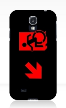 Accessible Means of Egress Icon Exit Sign Wheelchair Wheelie Running Man Symbol by Lee Wilson PWD Disability Emergency Evacuation Samsung Galaxy Case 119