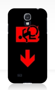 Accessible Means of Egress Icon Exit Sign Wheelchair Wheelie Running Man Symbol by Lee Wilson PWD Disability Emergency Evacuation Samsung Galaxy Case 121