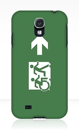 Accessible Means of Egress Icon Exit Sign Wheelchair Wheelie Running Man Symbol by Lee Wilson PWD Disability Emergency Evacuation Samsung Galaxy Case 12