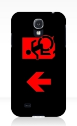 Accessible Means of Egress Icon Exit Sign Wheelchair Wheelie Running Man Symbol by Lee Wilson PWD Disability Emergency Evacuation Samsung Galaxy Case 122