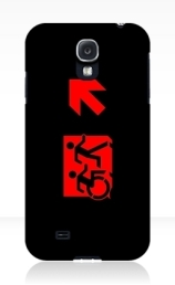 Accessible Means of Egress Icon Exit Sign Wheelchair Wheelie Running Man Symbol by Lee Wilson PWD Disability Emergency Evacuation Samsung Galaxy Case 123