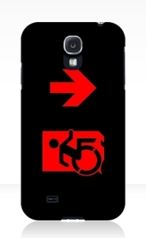 Accessible Means of Egress Icon Exit Sign Wheelchair Wheelie Running Man Symbol by Lee Wilson PWD Disability Emergency Evacuation Samsung Galaxy Case 124
