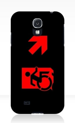 Accessible Means of Egress Icon Exit Sign Wheelchair Wheelie Running Man Symbol by Lee Wilson PWD Disability Emergency Evacuation Samsung Galaxy Case 125