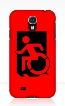 Accessible Means of Egress Icon Exit Sign Wheelchair Wheelie Running Man Symbol by Lee Wilson PWD Disability Emergency Evacuation Samsung Galaxy Case 126