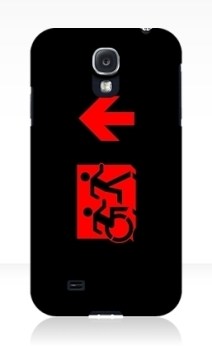Accessible Means of Egress Icon Exit Sign Wheelchair Wheelie Running Man Symbol by Lee Wilson PWD Disability Emergency Evacuation Samsung Galaxy Case 127