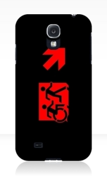 Accessible Means of Egress Icon Exit Sign Wheelchair Wheelie Running Man Symbol by Lee Wilson PWD Disability Emergency Evacuation Samsung Galaxy Case 128