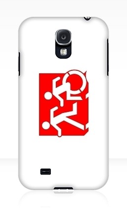 Accessible Means of Egress Icon Exit Sign Wheelchair Wheelie Running Man Symbol by Lee Wilson PWD Disability Emergency Evacuation Samsung Galaxy Case 129
