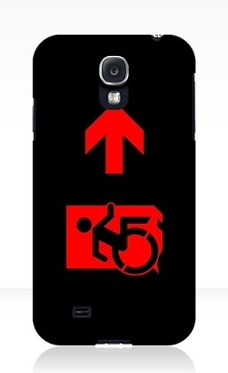 Accessible Means of Egress Icon Exit Sign Wheelchair Wheelie Running Man Symbol by Lee Wilson PWD Disability Emergency Evacuation Samsung Galaxy Case 130