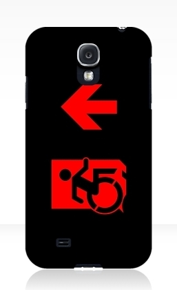 Accessible Means of Egress Icon Exit Sign Wheelchair Wheelie Running Man Symbol by Lee Wilson PWD Disability Emergency Evacuation Samsung Galaxy Case 131