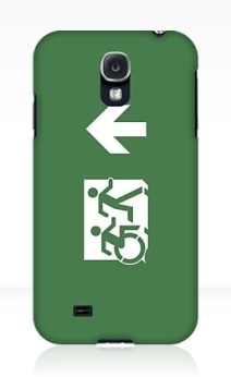 Accessible Means of Egress Icon Exit Sign Wheelchair Wheelie Running Man Symbol by Lee Wilson PWD Disability Emergency Evacuation Samsung Galaxy Case 13
