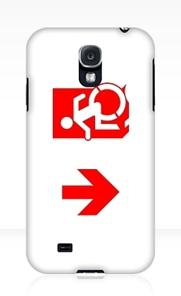 Accessible Means of Egress Icon Exit Sign Wheelchair Wheelie Running Man Symbol by Lee Wilson PWD Disability Emergency Evacuation Samsung Galaxy Case 133