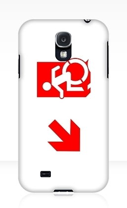 Accessible Means of Egress Icon Exit Sign Wheelchair Wheelie Running Man Symbol by Lee Wilson PWD Disability Emergency Evacuation Samsung Galaxy Case 134
