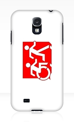 Accessible Means of Egress Icon Exit Sign Wheelchair Wheelie Running Man Symbol by Lee Wilson PWD Disability Emergency Evacuation Samsung Galaxy Case 135