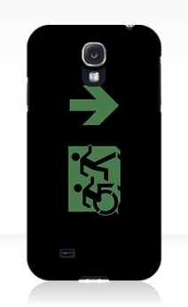 Accessible Means of Egress Icon Exit Sign Wheelchair Wheelie Running Man Symbol by Lee Wilson PWD Disability Emergency Evacuation Samsung Galaxy Case 136