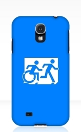 Accessible Means of Egress Icon Exit Sign Wheelchair Wheelie Running Man Symbol by Lee Wilson PWD Disability Emergency Evacuation Samsung Galaxy Case 137