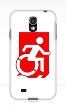 Accessible Means of Egress Icon Exit Sign Wheelchair Wheelie Running Man Symbol by Lee Wilson PWD Disability Emergency Evacuation Samsung Galaxy Case 138