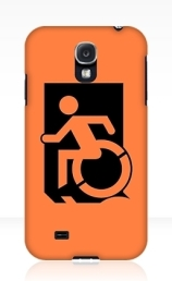 Accessible Means of Egress Icon Exit Sign Wheelchair Wheelie Running Man Symbol by Lee Wilson PWD Disability Emergency Evacuation Samsung Galaxy Case 139