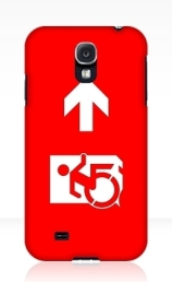Accessible Means of Egress Icon Exit Sign Wheelchair Wheelie Running Man Symbol by Lee Wilson PWD Disability Emergency Evacuation Samsung Galaxy Case 14
