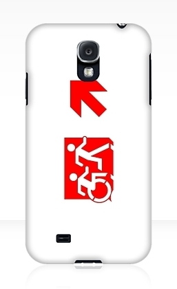 Accessible Means of Egress Icon Exit Sign Wheelchair Wheelie Running Man Symbol by Lee Wilson PWD Disability Emergency Evacuation Samsung Galaxy Case 140