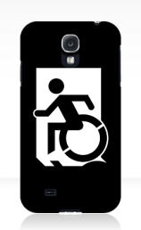 Accessible Means of Egress Icon Exit Sign Wheelchair Wheelie Running Man Symbol by Lee Wilson PWD Disability Emergency Evacuation Samsung Galaxy Case 141