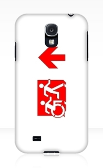 Accessible Means of Egress Icon Exit Sign Wheelchair Wheelie Running Man Symbol by Lee Wilson PWD Disability Emergency Evacuation Samsung Galaxy Case 142