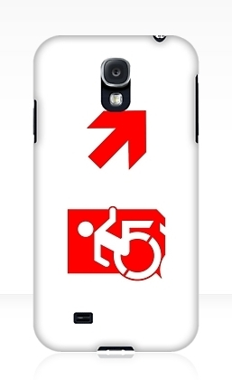 Accessible Means of Egress Icon Exit Sign Wheelchair Wheelie Running Man Symbol by Lee Wilson PWD Disability Emergency Evacuation Samsung Galaxy Case 143