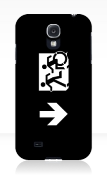 Accessible Means of Egress Icon Exit Sign Wheelchair Wheelie Running Man Symbol by Lee Wilson PWD Disability Emergency Evacuation Samsung Galaxy Case 144