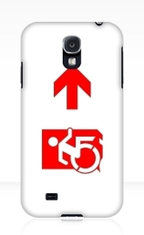 Accessible Means of Egress Icon Exit Sign Wheelchair Wheelie Running Man Symbol by Lee Wilson PWD Disability Emergency Evacuation Samsung Galaxy Case 145