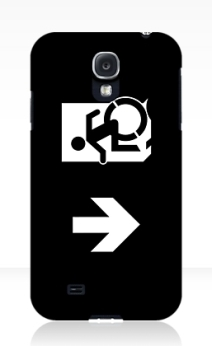 Accessible Means of Egress Icon Exit Sign Wheelchair Wheelie Running Man Symbol by Lee Wilson PWD Disability Emergency Evacuation Samsung Galaxy Case 147