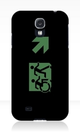 Accessible Means of Egress Icon Exit Sign Wheelchair Wheelie Running Man Symbol by Lee Wilson PWD Disability Emergency Evacuation Samsung Galaxy Case 148