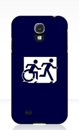 Accessible Means of Egress Icon Exit Sign Wheelchair Wheelie Running Man Symbol by Lee Wilson PWD Disability Emergency Evacuation Samsung Galaxy Case 149