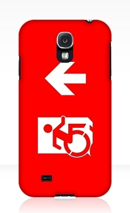 Accessible Means of Egress Icon Exit Sign Wheelchair Wheelie Running Man Symbol by Lee Wilson PWD Disability Emergency Evacuation Samsung Galaxy Case 15