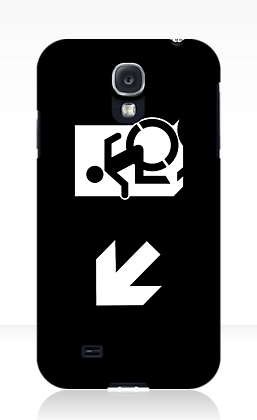 Accessible Means of Egress Icon Exit Sign Wheelchair Wheelie Running Man Symbol by Lee Wilson PWD Disability Emergency Evacuation Samsung Galaxy Case 150