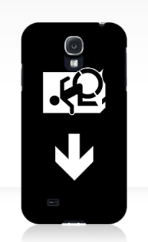 Accessible Means of Egress Icon Exit Sign Wheelchair Wheelie Running Man Symbol by Lee Wilson PWD Disability Emergency Evacuation Samsung Galaxy Case 151