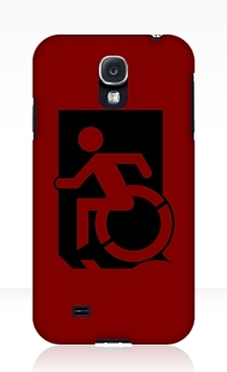 Accessible Means of Egress Icon Exit Sign Wheelchair Wheelie Running Man Symbol by Lee Wilson PWD Disability Emergency Evacuation Samsung Galaxy Case 152