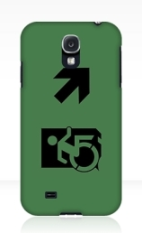 Accessible Means of Egress Icon Exit Sign Wheelchair Wheelie Running Man Symbol by Lee Wilson PWD Disability Emergency Evacuation Samsung Galaxy Case 153