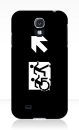 Accessible Means of Egress Icon Exit Sign Wheelchair Wheelie Running Man Symbol by Lee Wilson PWD Disability Emergency Evacuation Samsung Galaxy Case 154