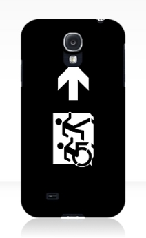 Accessible Means of Egress Icon Exit Sign Wheelchair Wheelie Running Man Symbol by Lee Wilson PWD Disability Emergency Evacuation Samsung Galaxy Case 155