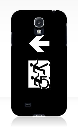 Accessible Means of Egress Icon Exit Sign Wheelchair Wheelie Running Man Symbol by Lee Wilson PWD Disability Emergency Evacuation Samsung Galaxy Case 156