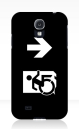 Accessible Means of Egress Icon Exit Sign Wheelchair Wheelie Running Man Symbol by Lee Wilson PWD Disability Emergency Evacuation Samsung Galaxy Case 157