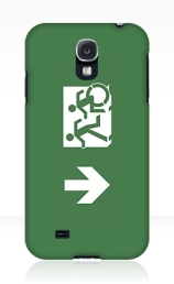 Accessible Means of Egress Icon Exit Sign Wheelchair Wheelie Running Man Symbol by Lee Wilson PWD Disability Emergency Evacuation Samsung Galaxy Case 158