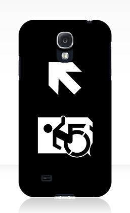 Accessible Means of Egress Icon Exit Sign Wheelchair Wheelie Running Man Symbol by Lee Wilson PWD Disability Emergency Evacuation Samsung Galaxy Case 159