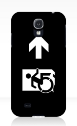 Accessible Means of Egress Icon Exit Sign Wheelchair Wheelie Running Man Symbol by Lee Wilson PWD Disability Emergency Evacuation Samsung Galaxy Case 160