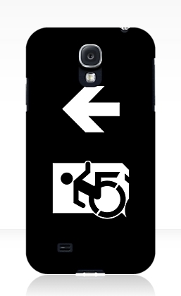 Accessible Means of Egress Icon Exit Sign Wheelchair Wheelie Running Man Symbol by Lee Wilson PWD Disability Emergency Evacuation Samsung Galaxy Case 161