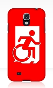 Accessible Means of Egress Icon Exit Sign Wheelchair Wheelie Running Man Symbol by Lee Wilson PWD Disability Emergency Evacuation Samsung Galaxy Case 162