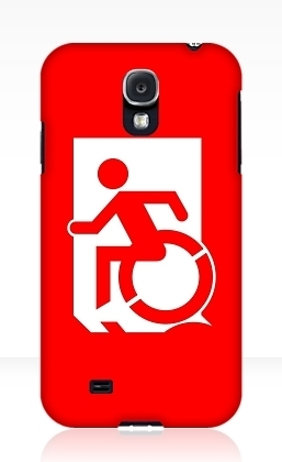 Accessible Means of Egress Icon Exit Sign Wheelchair Wheelie Running Man Symbol by Lee Wilson PWD Disability Emergency Evacuation Samsung Galaxy Case 163