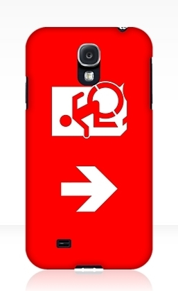 Accessible Means of Egress Icon Exit Sign Wheelchair Wheelie Running Man Symbol by Lee Wilson PWD Disability Emergency Evacuation Samsung Galaxy Case 164